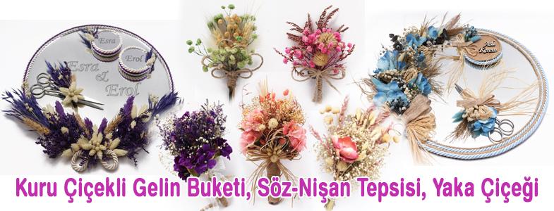 Kuru Çiçekli Gelin Buketi, Söz-Nişan Tepsisi, Yaka Çiçeği