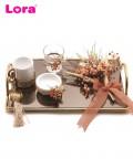 Kuru Çiçekli Altın CNC Damat Kahvesi Tepsi Seti - 82080
