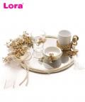 Kuru Çiçekli Aynalı Damat Kahvesi Tepsi Seti - 82082