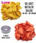 60 Adet Sarı ve Turuncu Karışık Metalik Balon + 5 Metre Balon Zinciri - 99286