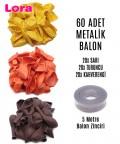 60 Adet Sarı  - Turuncu - Kahverengi Karışık Metalik Balon + 5 Metre Balon Zinciri