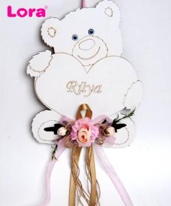 Ahşap Kız Bebek Kapı Süsü - 75628