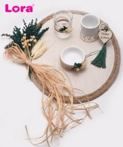 Kuru Çiçekli Damat Kahve Tepsisi - 82018