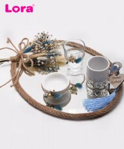 Kuru Çiçekli Damat Kahve Tepsisi - 82019