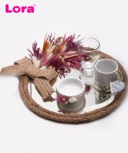 Kuru Çiçekli Damat Kahve Tepsisi - 82020