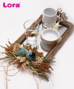 Kuru Çiçekli Damat Kahve Tepsisi - 82022