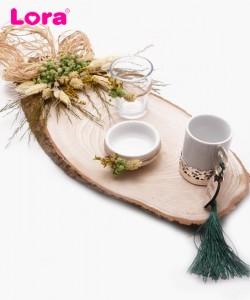 Kuru Çiçekli Damat Kahve Tepsisi - 82023
