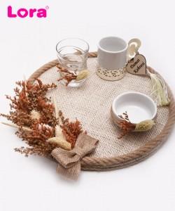 Kuru Çiçekli Damat Kahve Tepsisi - 82024