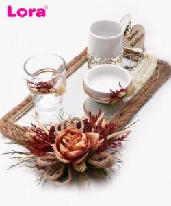 Kuru Çiçekli Damat Kahve Tepsisi - 82029