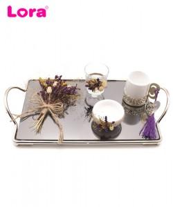 Kuru Çiçekli Damat Kahve Tepsisi - 82079