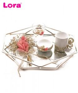 Kuru Çiçekli Damat Kahve Tepsisi - 82085