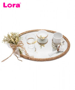 Kuru Çiçekli Damat Kahve Tepsisi - 99349