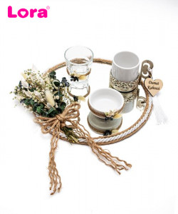 Kuru Çiçekli Damat Kahve Tepsisi - 99357
